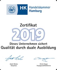 BAVcompact - Handelskammer Hamburg - Zertifikat 2019 - Dieses Unternehmen sichert Qualität durch duale Ausbildung